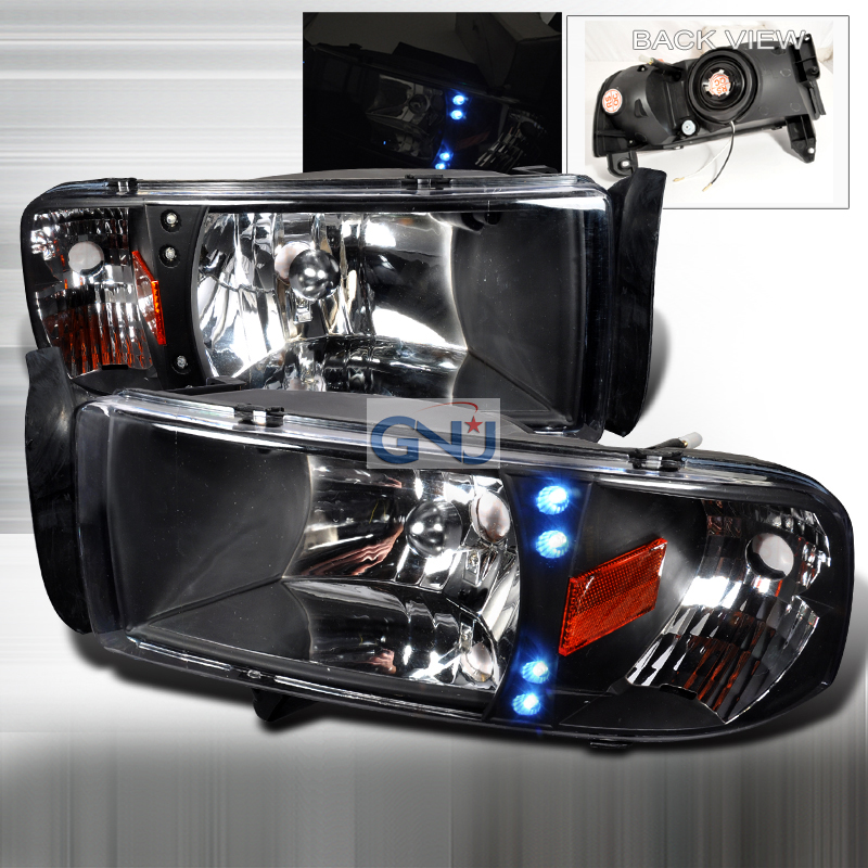 Dodge Ram 1994-2001 Black Euro Headlights With LED'S