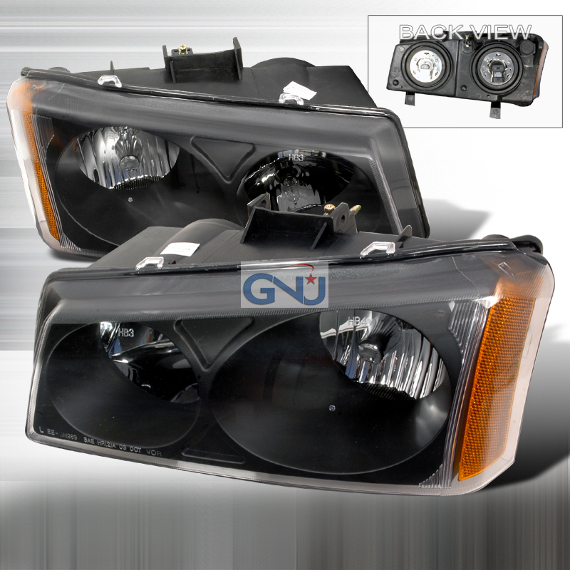 Chevrolet Silverado 2003-2006 Black Euro Headlights
