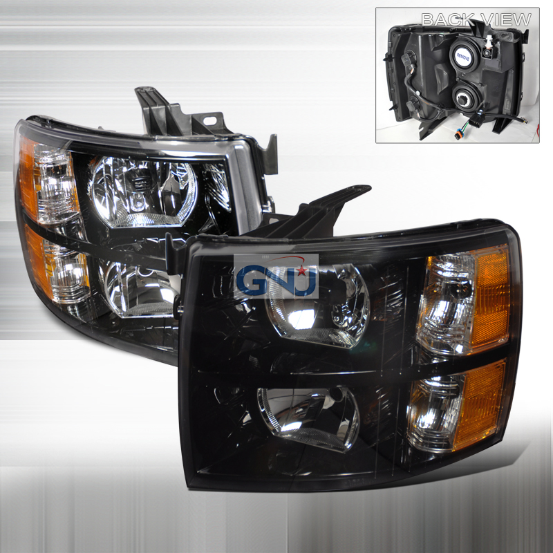 Chevrolet Silverado 2007-2010 Black Euro Headlights