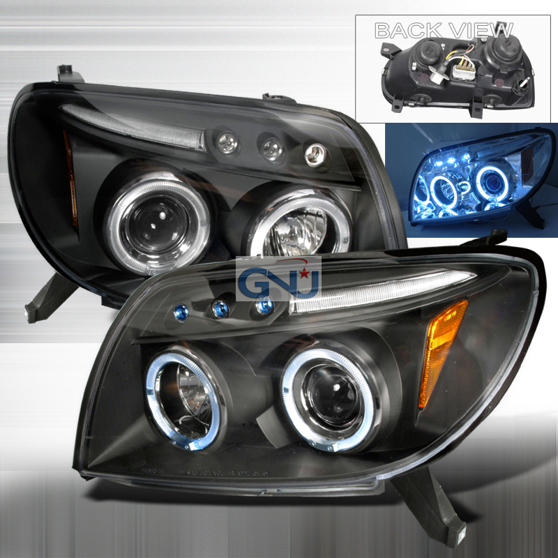 Toyota 4Runner  2003-2005 Black Halo Projector Headlights  W/LED'S