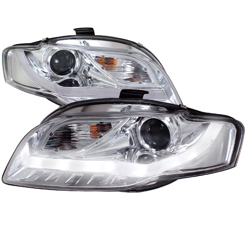 Audi A Chrome R Style Projector Headlights With LED - 2006 audi a4 headlights