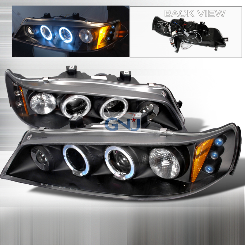 Honda Accord  1994-1997 Black Halo Projector Headlights  W/LED'S