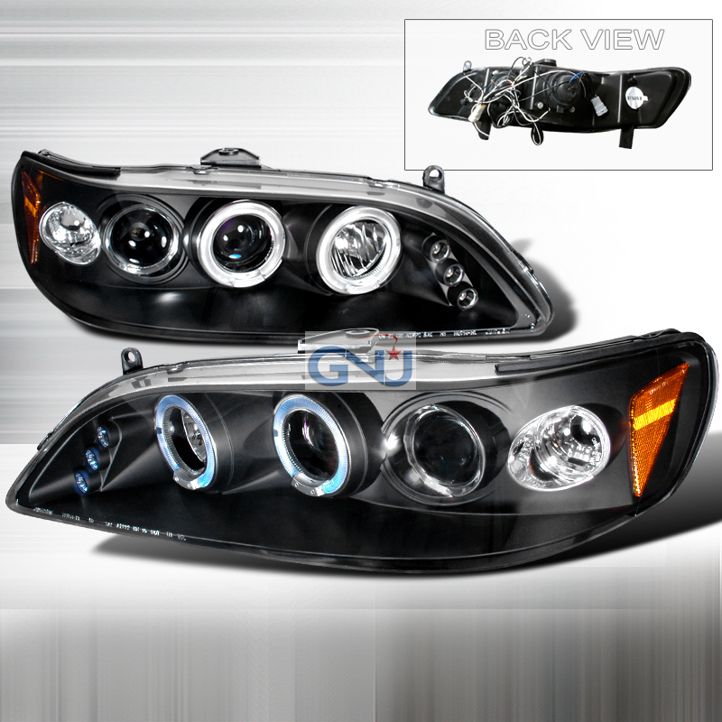 Honda Accord  1998-2002 Black Halo Projector Headlights  W/LED'S