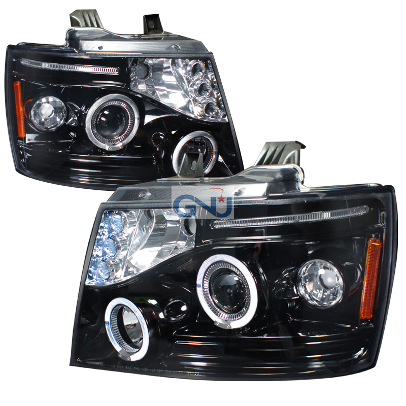 Chevrolet Avalanche  2007-2012 Gloss Black Halo Projector Headlights Smoke Lens