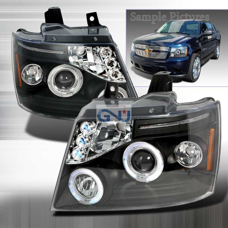 Chevrolet Avalanche  2007-2012 Black Halo Projector Headlights  W/LED'S