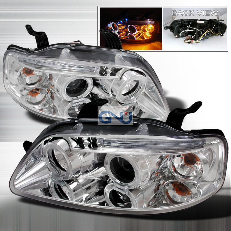 Chevrolet Aveo  2004-2008 Chrome Halo Projector Headlights  W/LED'S