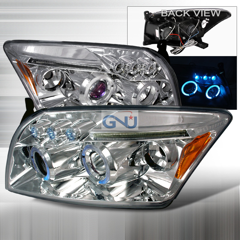Dodge Caliber 2006-2011Halo LED  Projector Headlights - Chrome