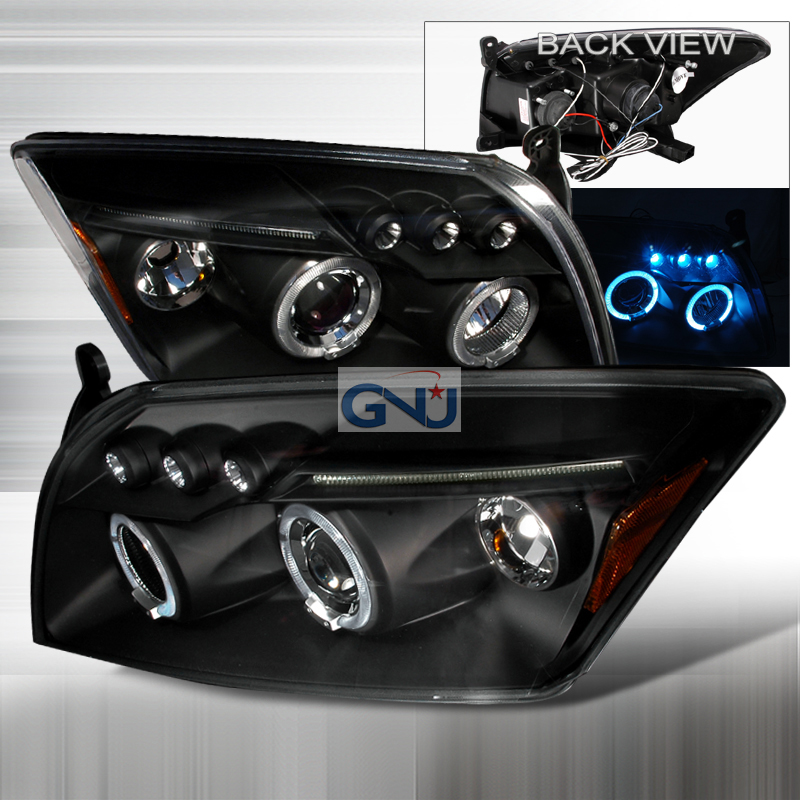 Dodge Caliber  2007-2012 Black Halo Projector Headlights  W/LED'S