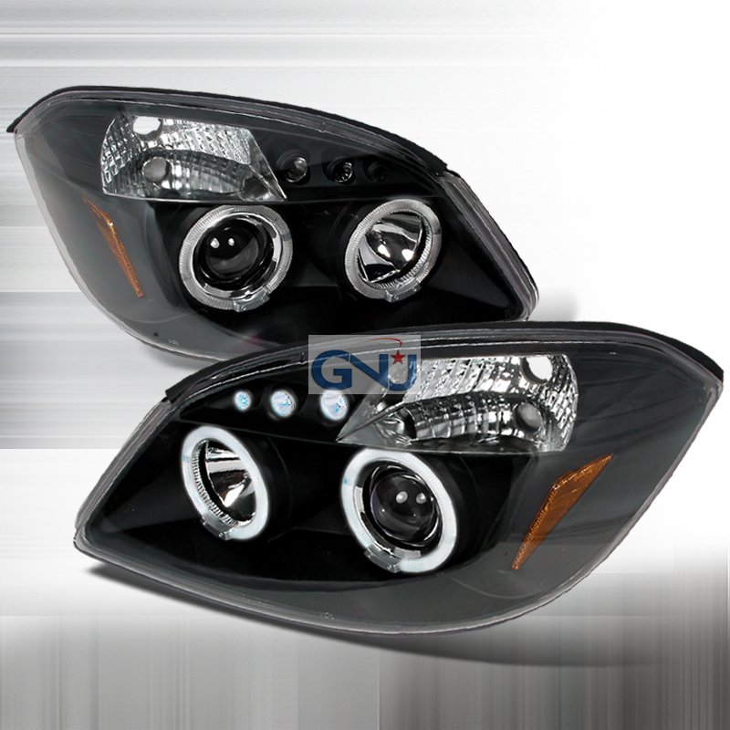 Chevrolet Cobalt  2005-2010 Black Halo Projector Headlights  W/LED'S