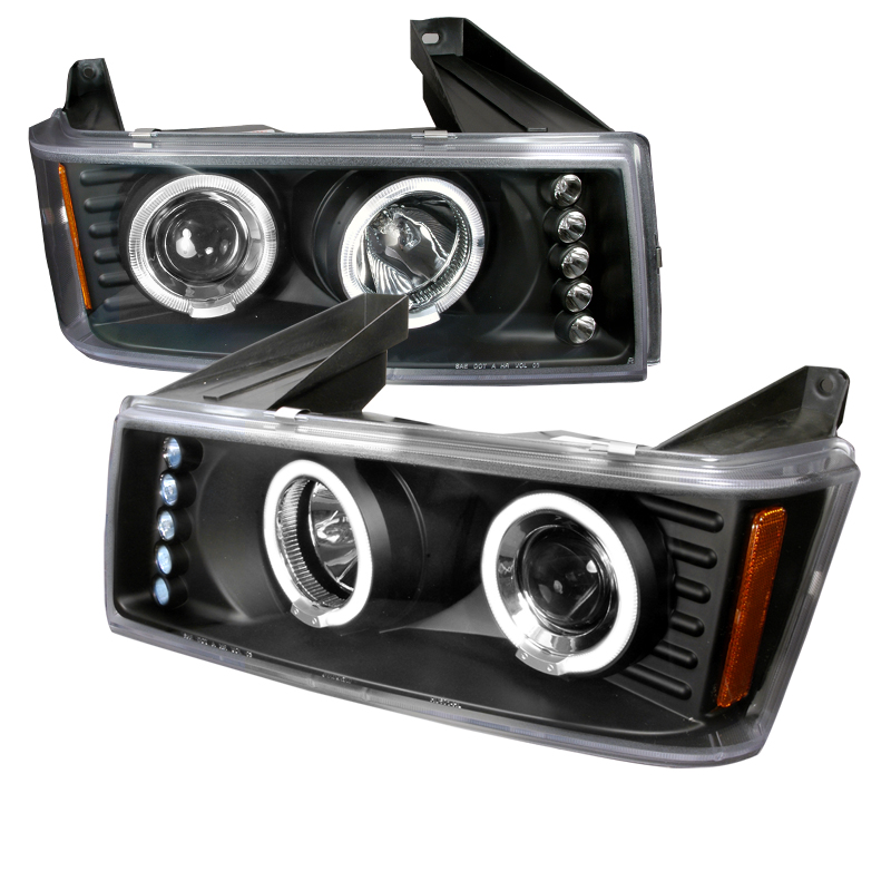 Gmc Canyon  2004-2012 Black Halo Projector Headlights  W/LED'S