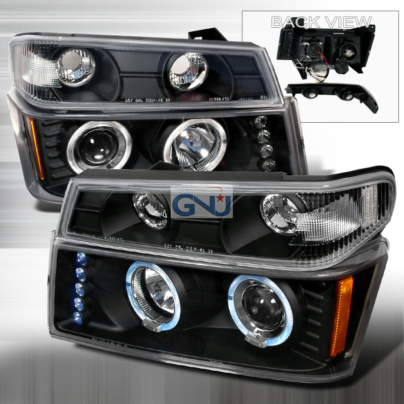 Chevrolet Colorado 2004-2005 Halo LED  Projector Headlights - Black