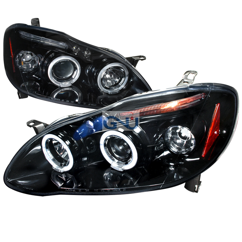 Toyota Corolla  2003-2008 Gloss Black Halo Projector Headlights Smoke Lens