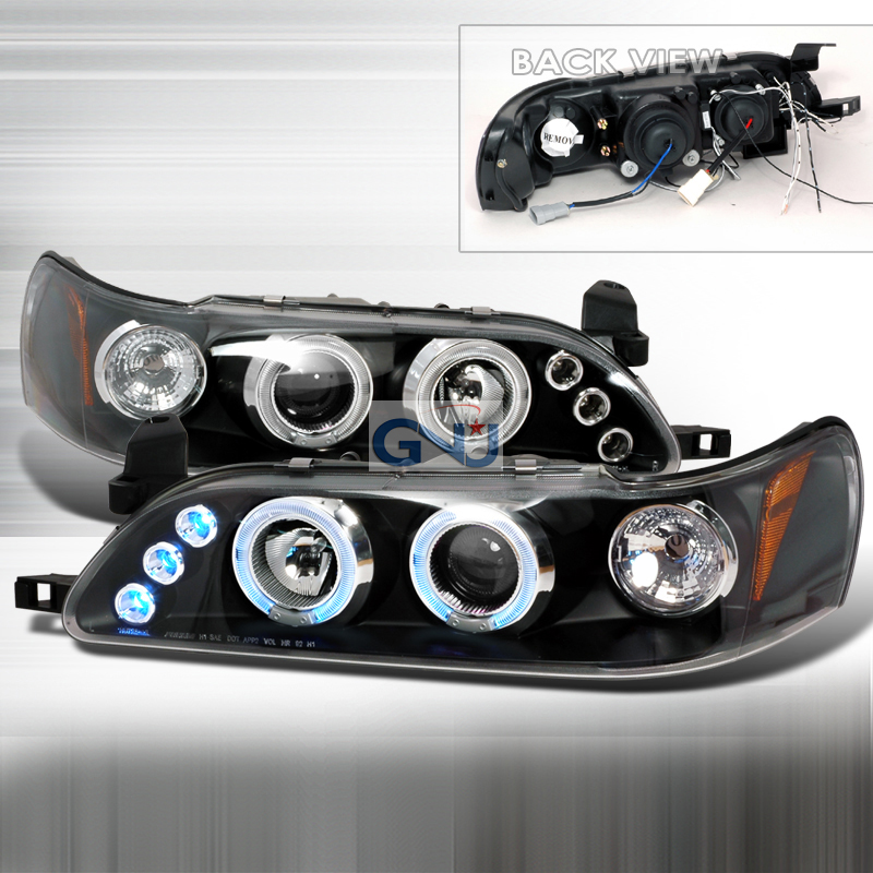 Toyota Corolla  1993-1997 Black Halo Projector Headlights  W/LED'S