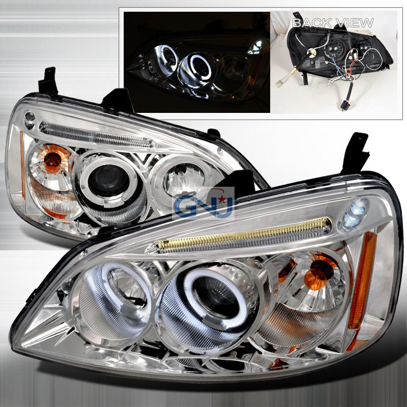 Honda Civic  2001-2003 Chrome Halo Projector Headlights  W/LED'S