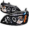2002 Honda Civic   Gloss Black  Projector Headlights Smoke Lens 