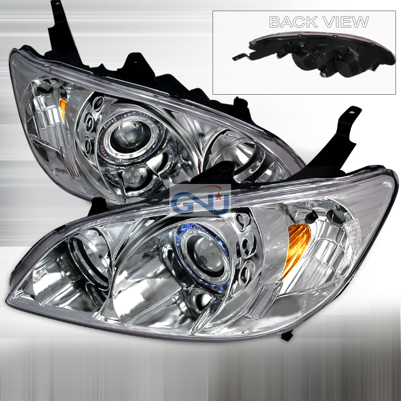 Honda Civic  2004-2005 Chrome Halo Projector Headlights