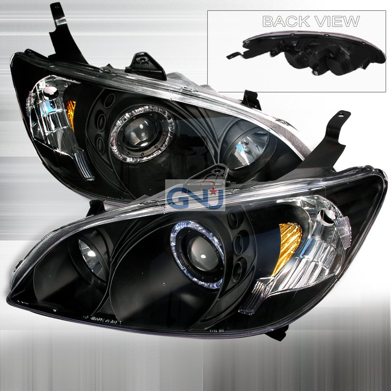 Honda Civic  2004-2005 Black Halo Projector Headlights