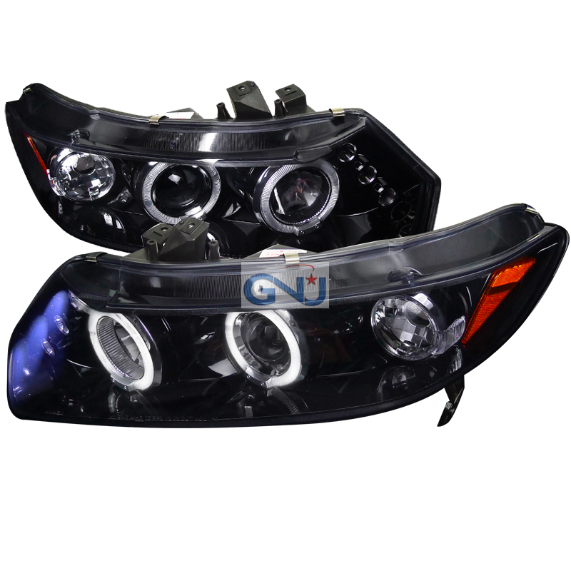 Honda Civic  2006-2011 Gloss Black  Projector Headlights Smoke Lens