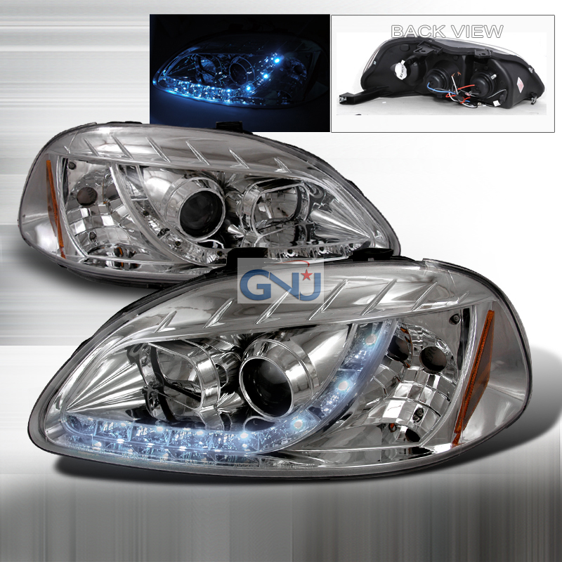 Honda Civic  1996-1998 Chrome R8 Style Halo Projector Headlights  W/LED'S