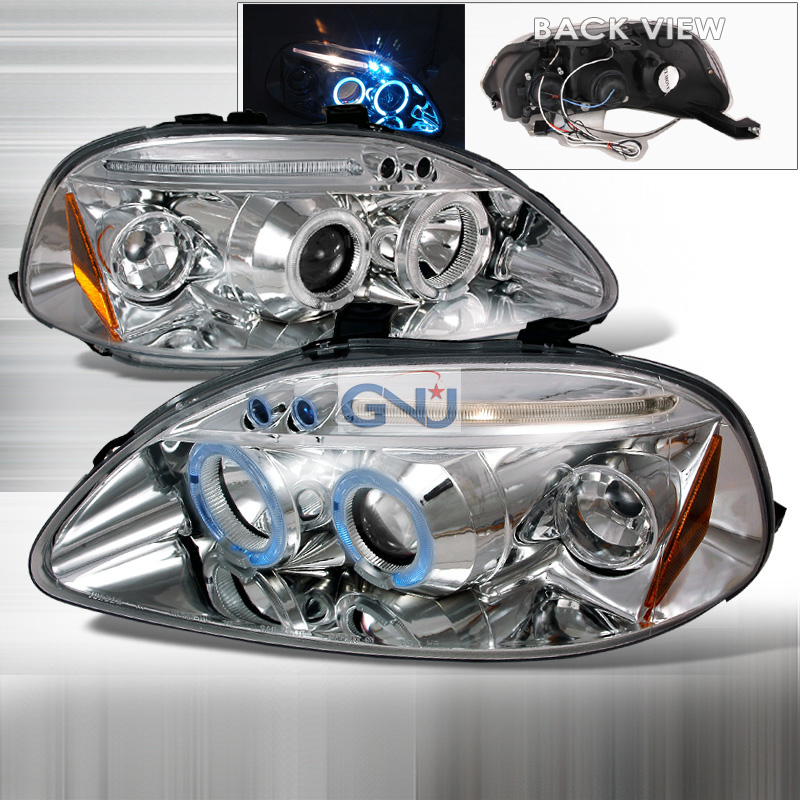 Honda Civic  1996-1998 Chrome Halo Projector Headlights  W/LED'S