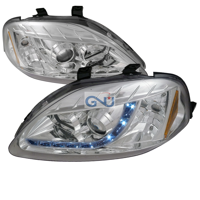 Honda Civic  1999-2000 Chrome R8 Style Projector Headlights