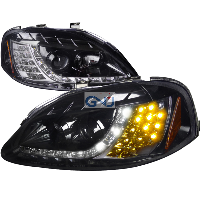 Honda Civic  1999-2000 Gloss Black R8 Style Projector Headlights