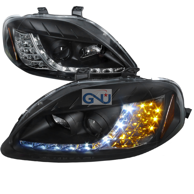 Honda Civic  1999-2000 Black R8 Style Projector Headlights