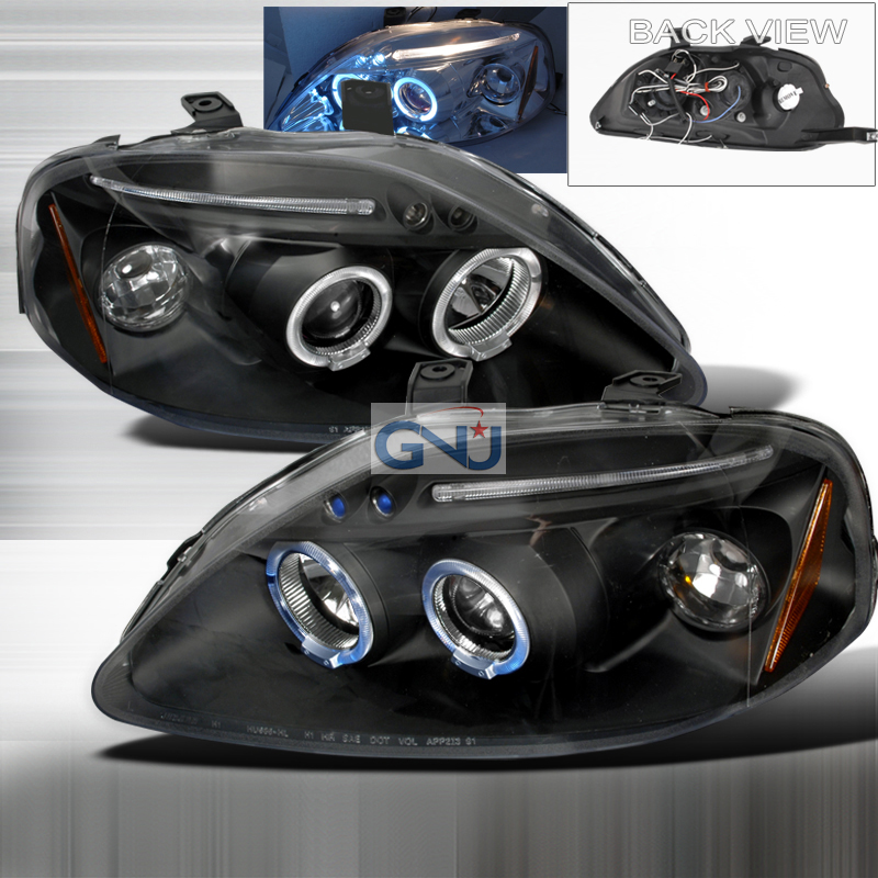 Honda Civic  1999-2000 Black Halo Projector Headlights  W/LED'S