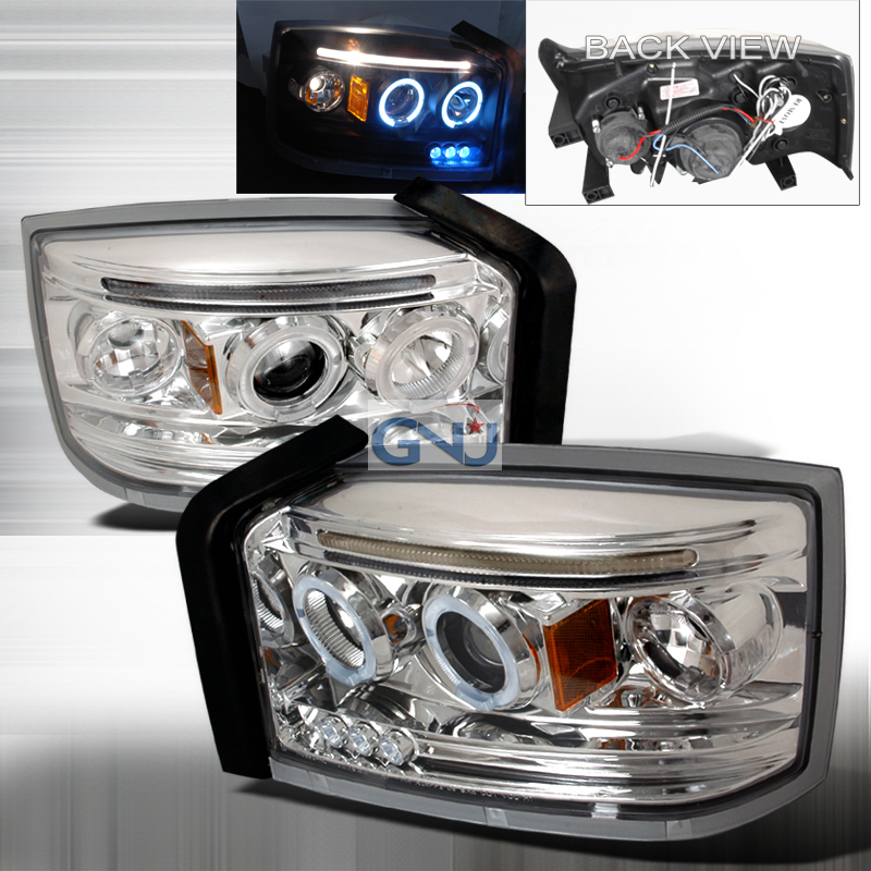 Dodge Dakota  2005-2008 Chrome Halo Projector Headlights  W/LED'S