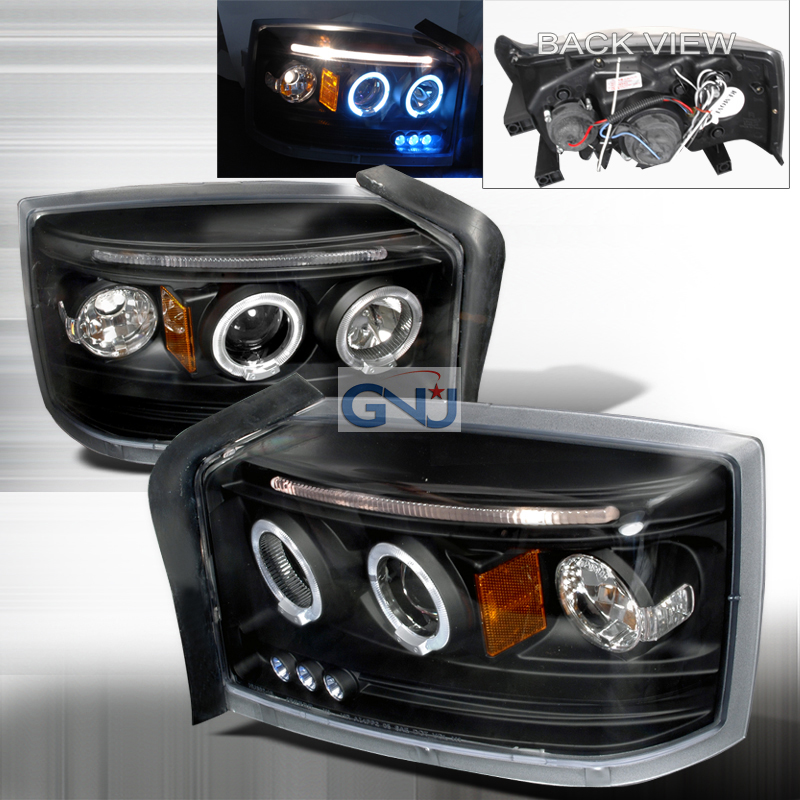 Dodge Dakota  2005-2008 Black Halo Projector Headlights  W/LED'S