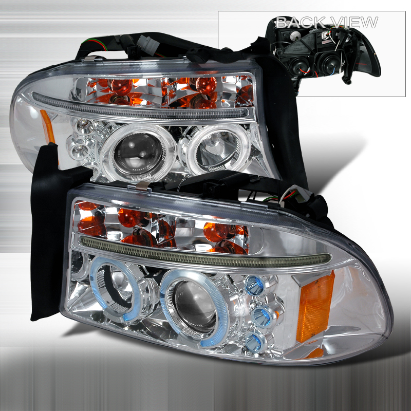 Dodge Durango  1998-2003 Chrome Halo Projector Headlights  W/LED'S