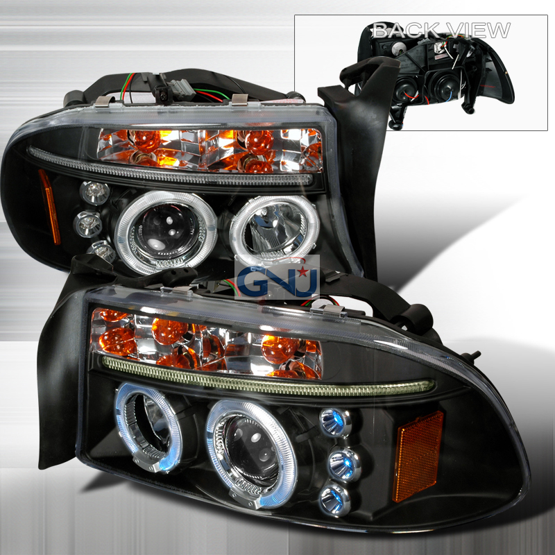 Dodge Dakota  1997-2004 Black Halo Projector Headlights  W/LED'S