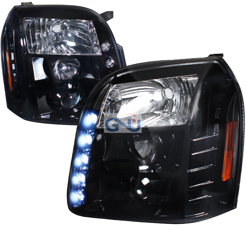 Gmc Yukon 2007-2010 Gloss Black, Smoked Lens Halo Projector Headlights