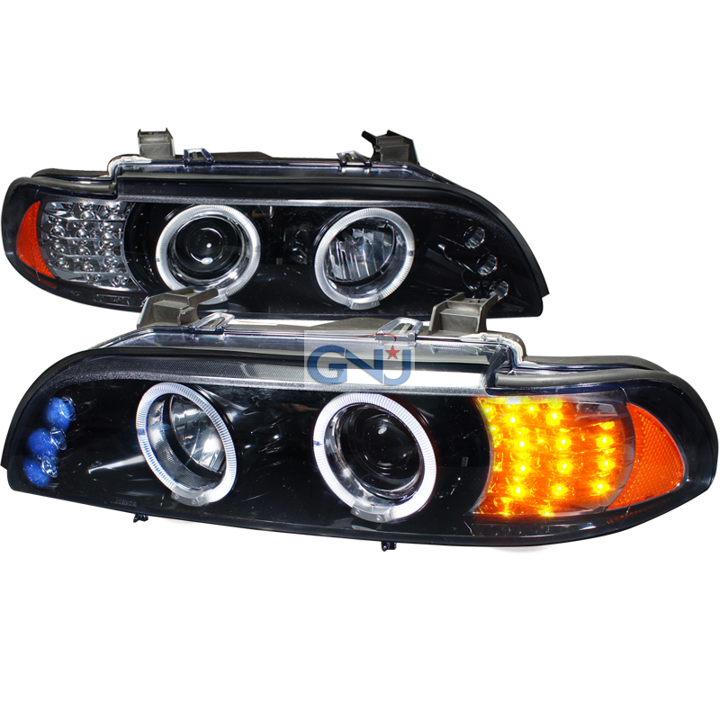 Bmw 5-Series  1997-2003 Gloss Black Halo Projector Headlights Smoke Lens