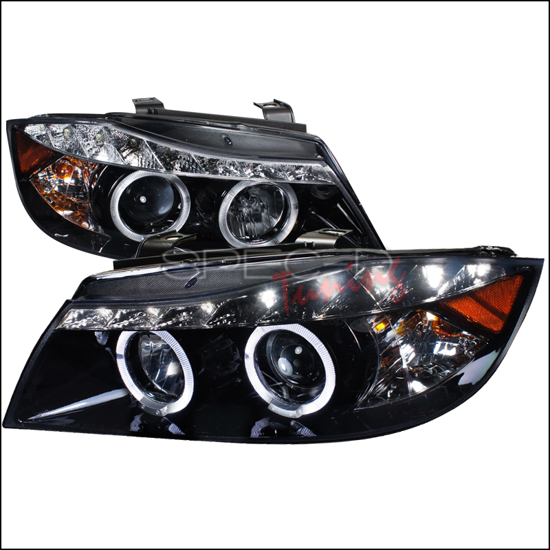 Bmw 3-Series E90 4 Door 2006-2008 Gloss Black R8 Style Projector Headlights Smoke Lens