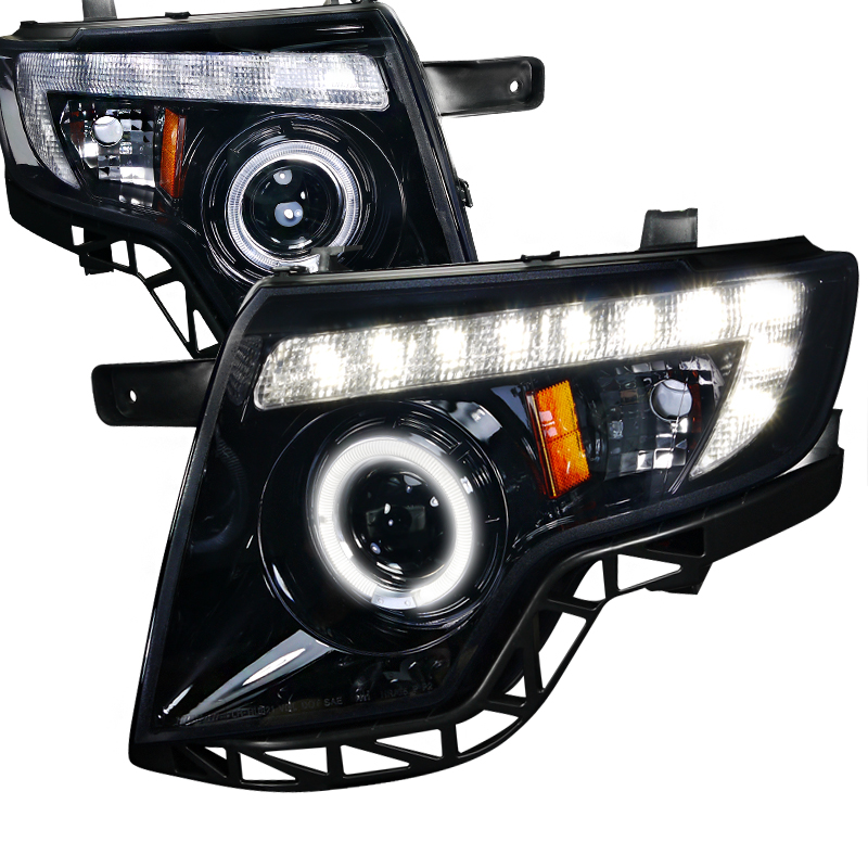 Ford Edge  2007-2010 Gloss Black  Projector Headlights Smoke Lens