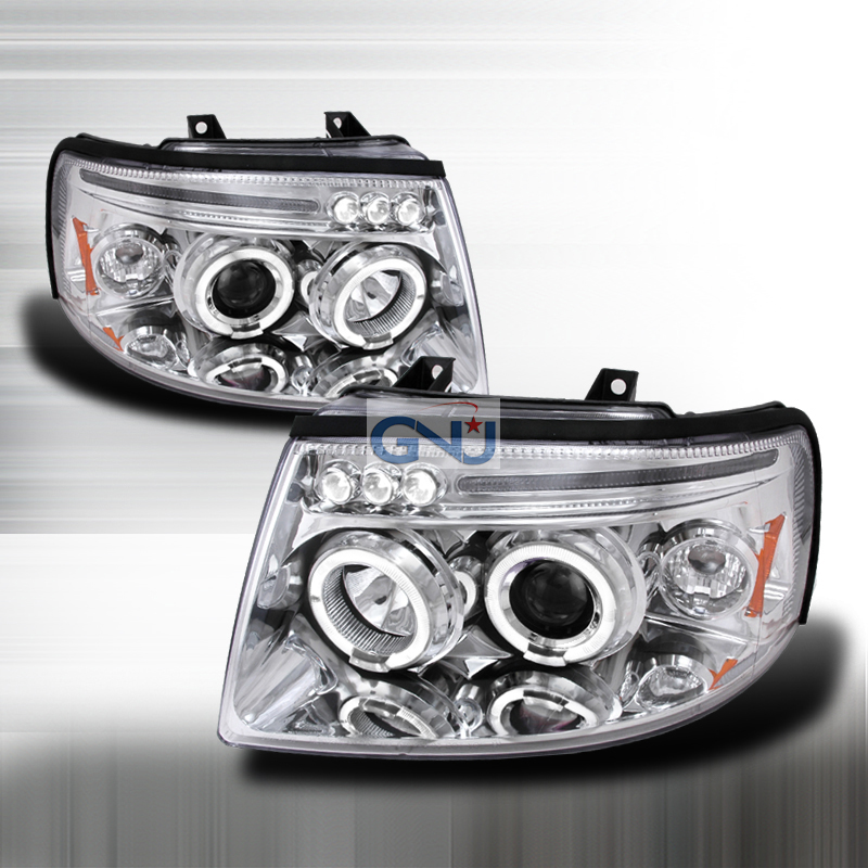 Ford Expedition 2003-2005 Halo LED  Projector Headlights - Chrome