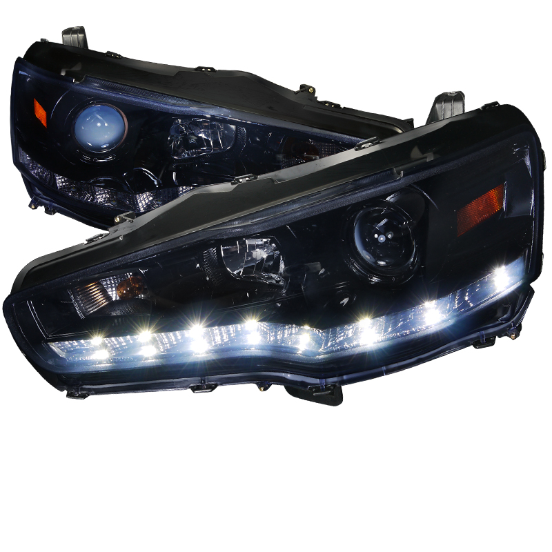 Mitsubishi Lancer Evo X 2008-2013 Gloss Black R8 Style Projector Headlights Smoke Lens