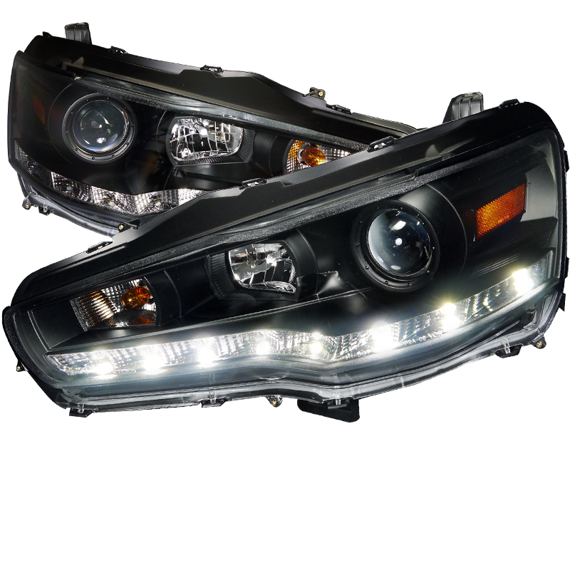 Mitsubishi Lancer Evo X 2008-2013 Black R8 Style Projector Headlights