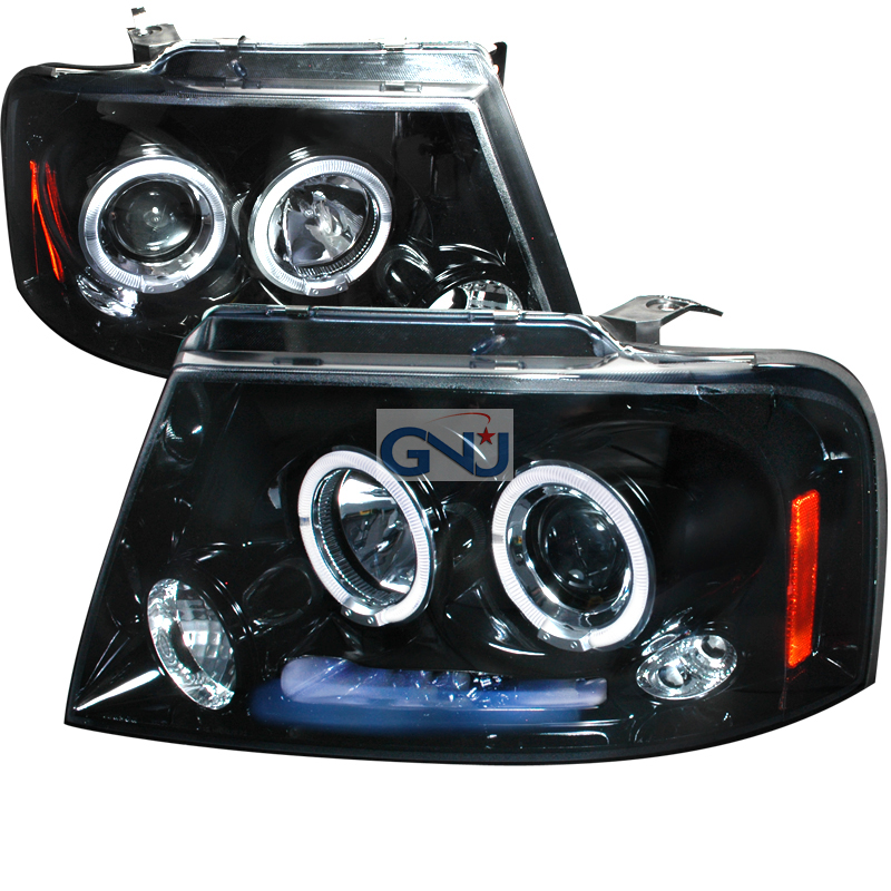 Ford F150  2004-2008 Gloss Black Halo Projector Headlights Smoke Lens