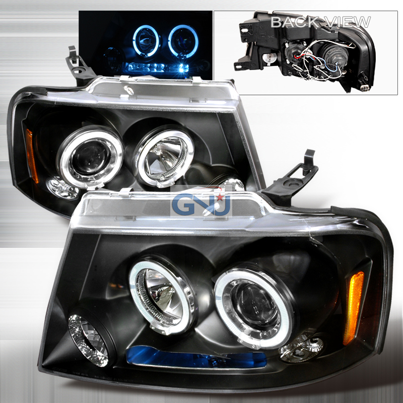 Ford F150  2004-2008 Black Halo Projector Headlights  W/LED'S