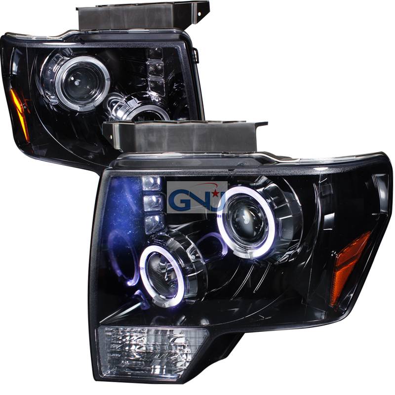 Ford F150  2009-2011 Gloss Black Halo Projector Headlights Smoke Lens