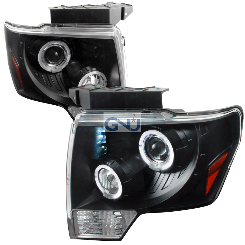 Ford F150  2009-2011 Black Dual Halo Projector Headlights  W/LED'S