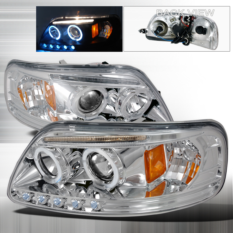 Ford Expedition  1997-2002 Chrome Halo Projector Headlights  W/LED'S