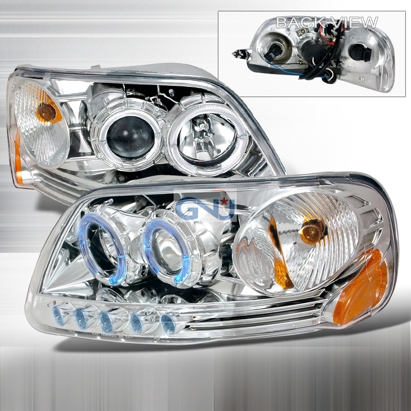Ford F150  1997-2003 Black Halo Projector Headlights  W/LED'S