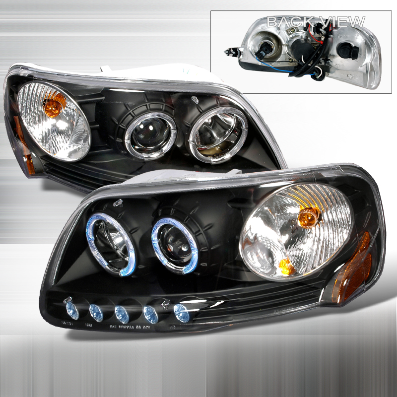 Ford Expedition  1997-2002 Black Halo Projector Headlights