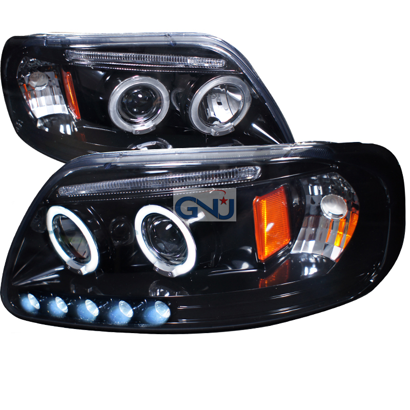 Ford F150  1997-2003 Gloss Black Halo Projector Headlights Smoke Lens