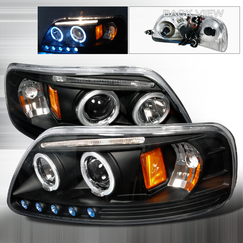Ford Expedition  1997-2002 Black Halo Projector Headlights  W/LED'S
