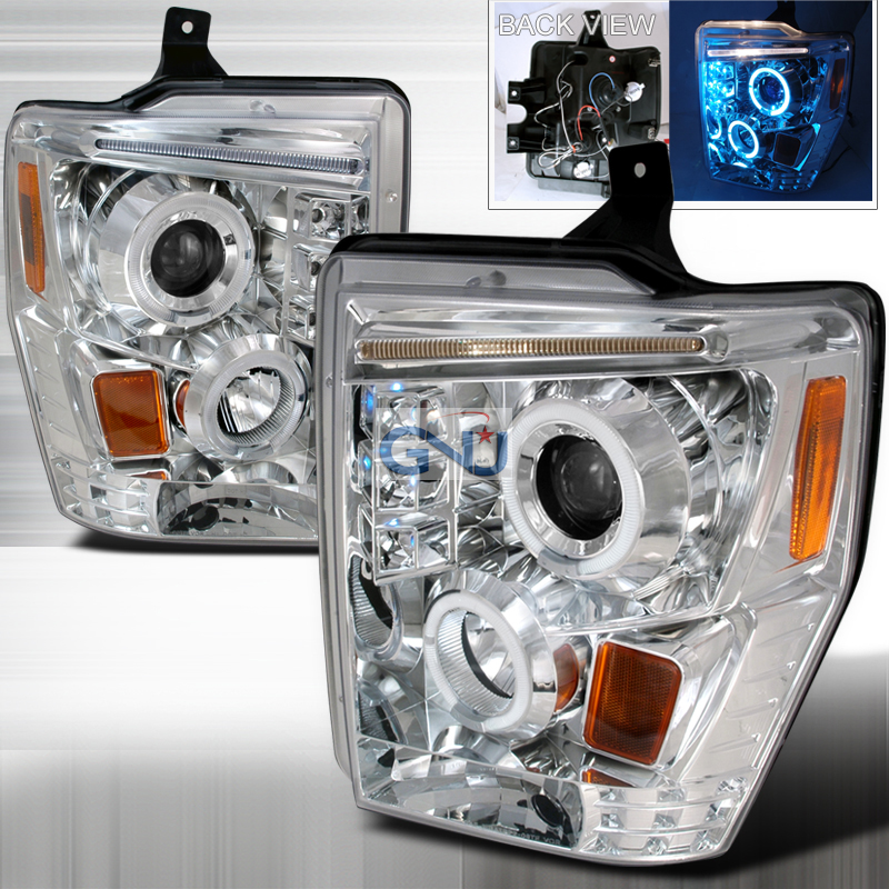 Ford Super Duty  2008-2010 Chrome R8 Style Halo Projector Headlights  W/LED'S