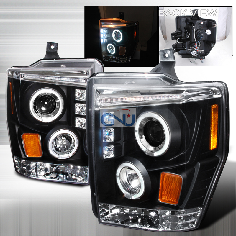 Ford Super Duty  2008-2010 Black Halo Projector Headlights  W/LED'S